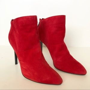 French Connection Red Suede Bootie Size 7